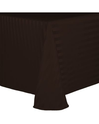 Ultimate Textile Poly Stripe 90-Inch x 132-Inch Oblong Tablecloth in Espresso