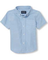 adb41fa5 s Baby And Toddler Boys Uniform Short Sleeve Oxford Button Down Shirt -  Blue - The