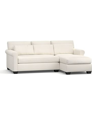 York Roll Arm Upholstered Deep Seat Left Arm Sofa with Chaise Sectional, Bench Cushion, Down Blend Wrapped Cushions, Denim Warm White