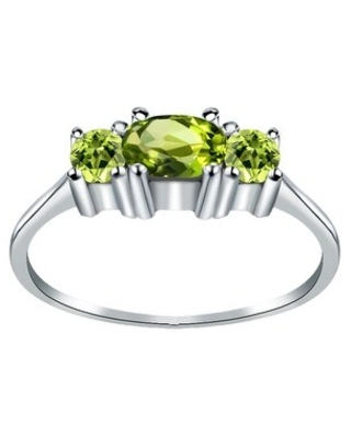 Amethyst, Peridot Sterling Silver Oval 3-Stone Ring by Orchid Jewelry (7 - Peridot)