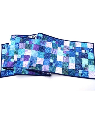 Batik Quilted Fabric Patchwork Table Runner or Wall Hanging