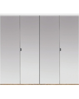 Impact Plus 47 in. x 84 in. Polished Edge Mirror Solid Core MDF Full-Lite Interior Closet Wood Bi-Fold Door with White Trim