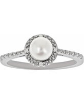 Sterling Silver Freshwater Cultured Pearl and Diamond Accent Frame Ring, Women's, Size: 6, White