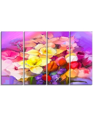 'Bouquet of Daffodil and Tulip Flowers' 4 Piece Painting Print on Wrapped Canvas Set Design Art