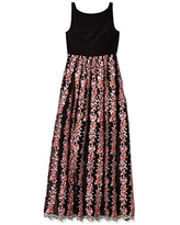 Adrianna Papell Women's Jersey and Embroidered Mesh Gown, Black/Multi, 6