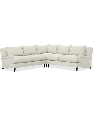 Carlisle Upholstered 3 Piece L Shaped Corner Sectional, Down Blend Wrapped Cushions, Performance Slub Cotton Ivory