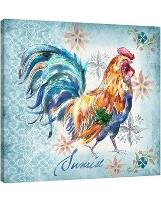 """Fleur De Lis Living 'Rooster: Sunrise' Watercolor Painting Print on Wrapped Canvas FDLL5419 Size: 30"""" H x 30"""" W"""
