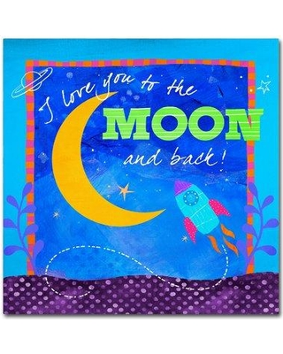 """Trademark Art 'To the Moon' Graphic Art Print on Wrapped Canvas ALI13614-C Size: 14"""" H x 14"""" W"""