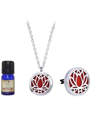 Anavia Lotus Anniversary Gift for Her Wife Girlfriend Essential Oil Diffuser Necklace & Car Clip Jewelry Organic Essential Oil Aromatherapy Jewelry Gift Set Ships Next Day