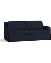 """York Square Arm Slipcovered Deep Seat Sofa 79"""" with Bench Cushion, Down Blend Wrapped Cushions, Twill Cadet Navy"""