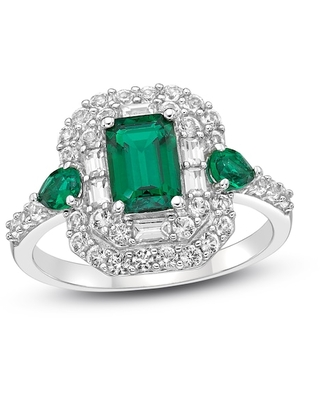 Jared Lab-Created Emerald & Lab-Created White Sapphire Ring Sterling Silver