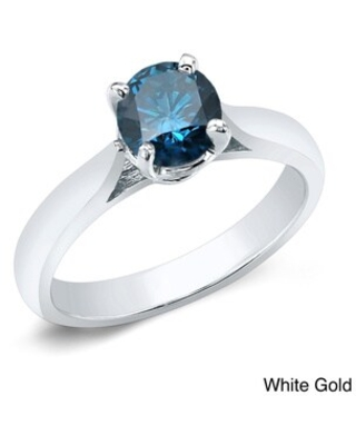 Auriya 3/4ctw Solitaire Blue Diamond Engagement Ring 14K Gold (White - 8.5)