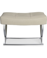 James Nickel and Leather Ottoman, Italian Distressed Leather, Ivory