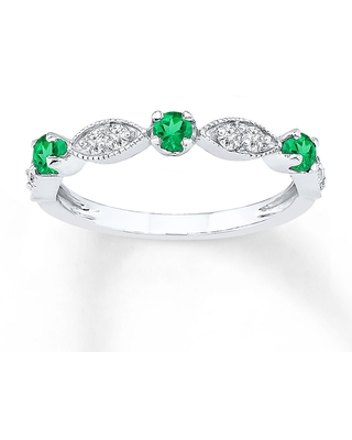 Lab-Created Emerald Ring Lab-Created Sapphire Sterling Silver