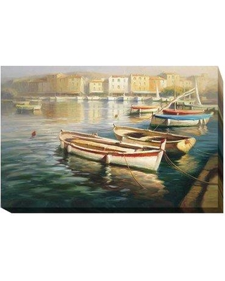 """Longshore Tides 'Harbor Morning I' Oil Painting Print on Wrapped Canvas LNTS2019 Size: 16"""" H x 24"""" W x 1.5"""" D"""