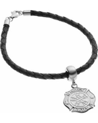 "Insignia Collection Sterling Silver and Leather Fire Rescue Maltese Cross Charm Bracelet, Women's, Size: 7.5"", multicolor"