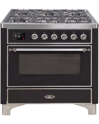 """UM09FDNS3BKC 36"""" Majestic II Series Dual Fuel Natural Gas Range with 6 Burners and Griddle 3.5 cu. ft. Oven Capacity TFT Oven Control Display"""