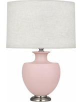 Michael Berman Atlas Nickel and Woodrose Ceramic Table Lamp