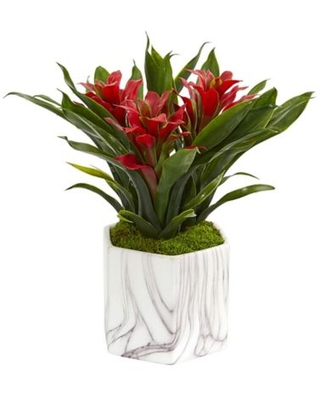 """Nearly Natural 11"""" Artificial Red Bromeliad Plant In Vase"""