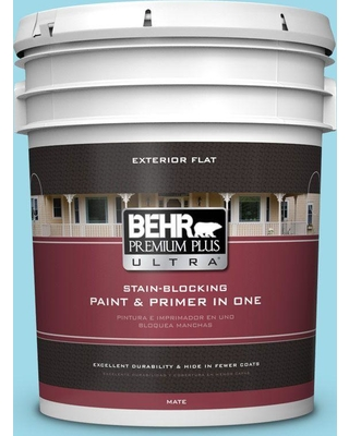 BEHR ULTRA 5 gal. #520A-3 Nevada Sky Flat Exterior Paint and Primer in One