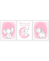 Pink Elephant Baby Girl Nursery Decor Watercolor Wall Art Shower Gift Kids Bedroom Pictures