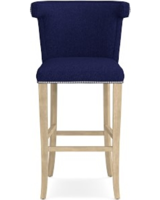 Regency Bar Stool, Polished Nickel, Perennials Performance Basketweave, Indigo, Heritage Grey Leg