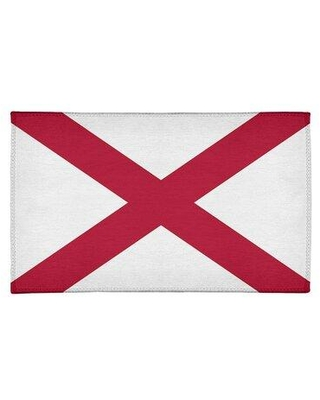 East Urban Home Alabama Flag Chenille Off-White/Red Area Rug FCLR9656 Rug Size: Rectangle 2' x 3'