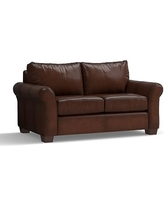 """PB Comfort Roll Arm Leather Loveseat 68"""", Polyester Wrapped Cushions, Leather Burnished Walnut"""