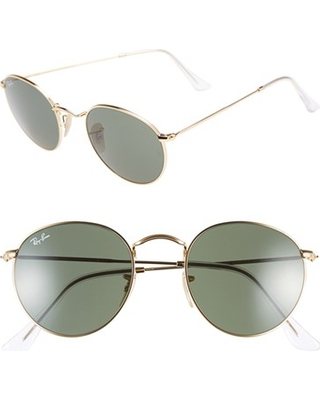 Ray-Ban Icons 50mm Round Metal Sunglasses - Gold/ Green