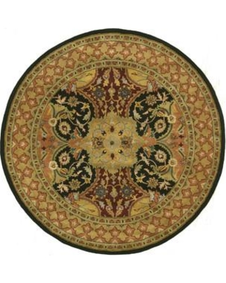 """Meridian Rugmakers Madhupur Hand-Tufted Black Area Rug Rug Size: Round 7'9"""""""