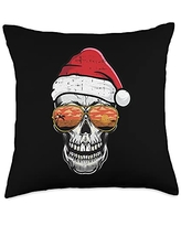 Christmas In July Cloths Summer Vacation Gifts Skull Christmas In July Beach Tropical Summer Vacation Throw Pillow, 18x18, Multicolor