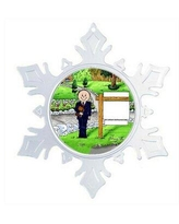 The Holiday Aisle® Personalized Friendly Folks Cartoon Snowflake Realtor, Real Estate Agent, Realtor Christmas Holiday Shaped Ornament, Plastic