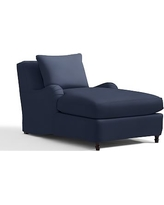Carlisle Slipcovered Chaise, Polyester Wrapped Cushions, Twill Cadet Navy