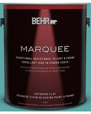 BEHR MARQUEE 1 gal. #500D-5 Teal Zeal Flat Exterior Paint and Primer in One