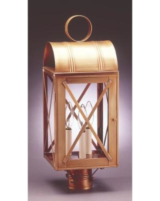 Northeast Lantern Adams 22 Inch Tall 3 Light Outdoor Post Lamp - 6053-VG-LT3-CLR