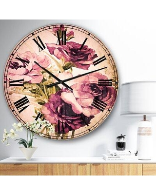 East Urban Home Oversized Floral Bunch of Flowers Metal Wall Clock EBIC3036 Size: Medium