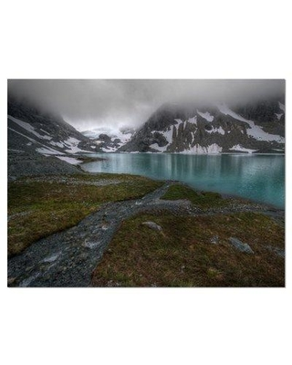 """Design Art 'Turquoise Mountain Lake w/ Clouds' Photographic Print on Wrapped Canvas, Canvas & Fabric in Green, Size 30"""" H x 40"""" W 