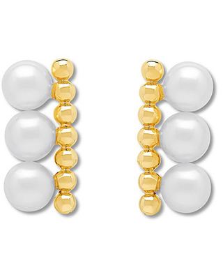 79c662b6c Spectacular Sales for Honora Cultured Pearl Bar Earrings 10K Yellow Gold