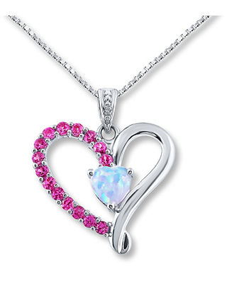 Lab-Created Opal Lab-Created Sapphires Sterling Silver Necklace