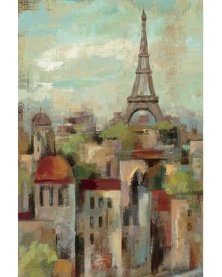 """Charlton Home® Spring in Paris II Painting Print on Wrapped Canvas, Canvas & Fabric in Brown/Green, Size 18"""" H x 12"""" W x 1.5"""" D   Wayfair"""