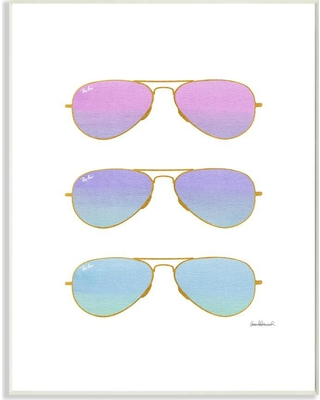"""Stupell Industries 10 in. x 15 in. """"Pink Purple and Blue Sunset Ombre Aviator Sunglasses"""" by Artist Amanda Greenwood Wood Wall Art, Multi-Colored"""