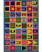 Fun Time Hebrew Numbers and Letters Multi Colored 2 ft. x 2 ft. Area Rug