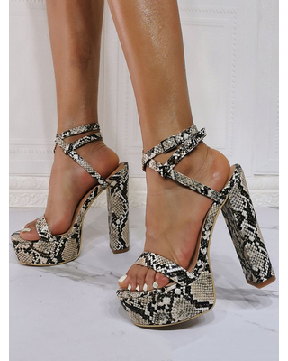 Milanoo Evening Platforms PU Leather Open Toe High Heel Python Party Shoes Lace Up Heels