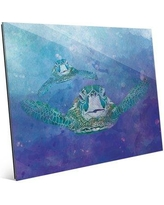 """Click Wall Art 'Two Turtles in the Ocean Nautical' Graphic Art Print on Glass BHS0000658GLS Size: 8"""" H x 10"""" W x 1"""" D"""