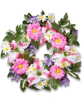 Decorated Wreaths with Tiger Lilies and Daisies (18), Pink