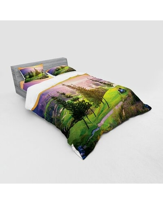 Golf Resort Park in Spring Season with Trees Sunset Hills and Valley End of the Day Duvet Cover Set East Urban Home Size: Queen Duvet Cover + 3 Additi