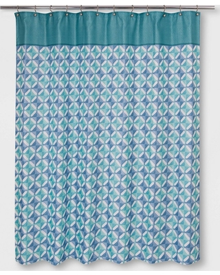 Grid Overlap Shower Curtain Blue - Allure Home Creation
