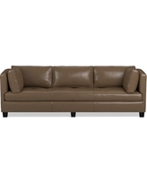 "Wilshire 96"" Sofa, Standard, Italian Distressed Leather Solid Toffee"
