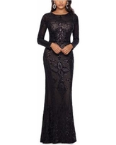Embellished Embroidered Gown - Black - Betsy & Adam Dresses