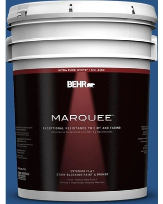 BEHR MARQUEE 5 gal. #590B-7 Award Blue Flat Exterior Paint and Primer in One